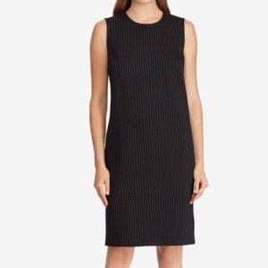 NWT Ralph Lauren Black Pinstripe Shift Midi Dress